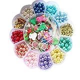 Q7S verschidenfarbige Schmuck-Studio-Perlen, Perlen-Set für Mädchen, Geburtstaggeschenke für Kinder (Packung mit 500 Stück)