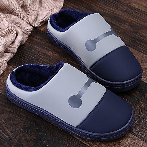 LaxBa Femmes Hommes Chaussures Slipper antiglisse intérieur Couleur bleu marine