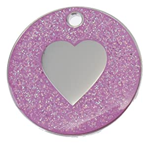 Just Pets Quality Enamel Pink Glitter Dog Tag, Heart Design, Personalised, Engraved Free by Phoenix Engraving & Gifts