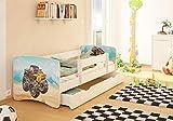 Best For Kids Kinderbett mit Rausfallschutz Schublade Lattenrost 10 cm Matratze TÜV Zertifiziert Kinderbett für Mädchen und Jungen in 3 Größen viele Motive (Jeep, 90x160)