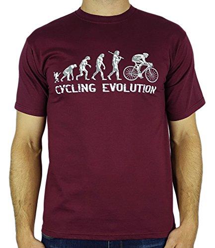 My Generation Gifts Cycling Evolution - Regalo divertido del ciclismo de cumpleaños/presente para hombre de la camiseta Borgoña XL