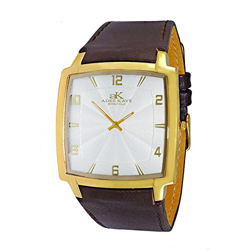 ADEE KAYE MEN'S BROWN SYNTHETIC LEATHER BAND SWISS QUARTZ WATCH AK2221-MGSV