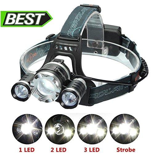 LED Stirnlampe,SGODDE 3x T6 LED Kopflampe- 4 Modi zu wahlen mit 8000 LM Wasserdicht,Fokussierbar,Kopfleuchte Headlamp Headlight für Outdoor Joggen Biken Laufen Camping Bauarbeiten.(2 x 18650 Akku enthalten)