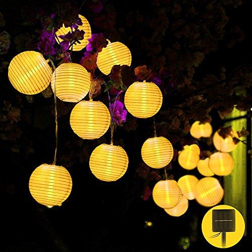 Solar Lichterkette, Lampion 20LEDs 4.5m Laterne Wasserdichte Gartenbeleuchtung mit 1.5m Zuleitungskabel als Innenbeleuchtung und Außenbeleuchtung LED Lichterkette außen Solar Lichterketten Außen - Candy-bar-handys