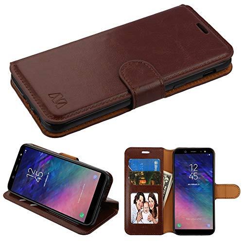 Schutzhülle und Eingabestift, PU-Leder für Samsung Galaxy A6 (2018), Braun - Handys Att Unlocked