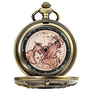 KS Reloj de Bolsillo con Cadena Mapa Hombres Antiguo Reloj Colgante Cuarzo analógico KSP106