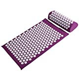 Basebody Massager Cushion Acupressure Mat Relieve Stress Pain Acupuncture Massage Pillow Spike Yoga Mat with Pillow (Purple))