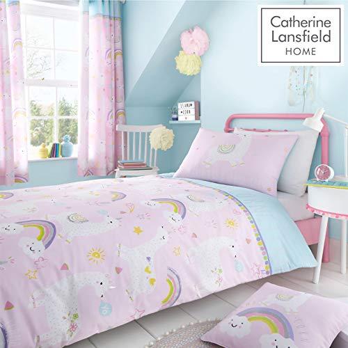 Catherine Lansfield Llama-Corn Easy Care - Juego de Funda nórdica y Funda de Almohada para Cama Individual, Color Rosa