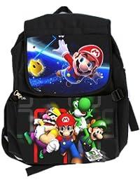 Nintendo Super Mario Bros Wii Large–Mochila escolar Anime Bookbag niños tamaño Full), color negro