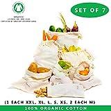 Produire des sacs avec un poids à vide - Lot de 7 - Extra Large, Large, Medium, Small - sacs de légumes en sachet de mousseline garder frais, sac de fruits et légumes, sac en coton (6'x10 ', 8'x10', 12'x10 ', 14'x10 ', 15'x12', 18'x12 ')