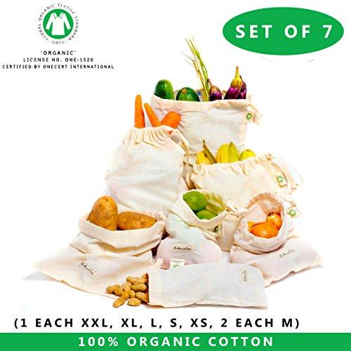 WIEDERVERWENDBARE PRODUKT-TASCH' Satz von 7 wiederverwendbaren Musselin-Taschen (1 Stück von XXL, L, M, S, XS und 2 Stück von XL) für GO GRÜN, ZERO WASTE Lebensmittelgeschäft' Maschinenwaschbar' Geringes Gewicht' Eigengewicht' Gemüse Tasche (Kordelzug Bio-baumwolle)