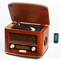 Radio Antigua Vintage Madera Autentica, Radio CD MP3,Retro USB Connector, FM - LW |Color Madera Radio Hogar con Control Remoto, Radio de los Muebles Caseros, Sala de Estar, Cocina| Diseño exclusivo
