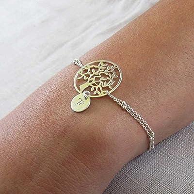 Bracelet arbre de vie argent 1 initiale