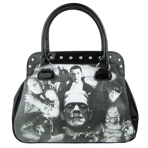 Horrorfilm Handtaschen (The Bride of Frankenstein Lack Handtasche - Collage Gothic Henkeltasche)