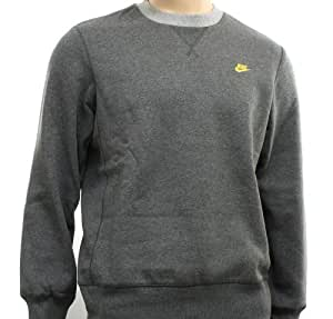 New Nike Mens Dark Grey Fleece Crew Sweatshirt Sweatshirt Size S