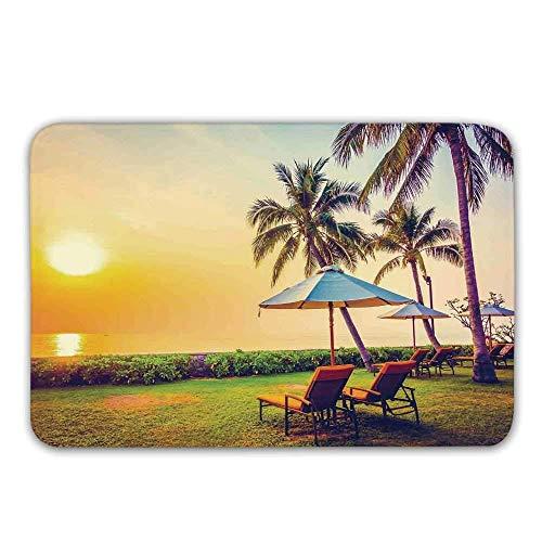 Gummieingangs-Wolldecke der Küste, leerer Regenschirm und Stühle auf der Strand-Palmen-Zeit-Ferien-Thema-Fußmatte in der Dämmerung für Front Door ()