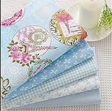 5 scampoli di tessuto azzurro, 40 x 50cm, in cotone, per cucito, patchwork, bambole, lenzuola per bambini