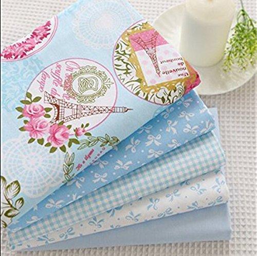 Baumwolle Blau Stoff (40cm * 50cm 5x blau Baumwolle Stoff Fat Quarter Quilten Patchwork Tissue Kids Baby Bettwäsche Textil für Tilda Puppe)