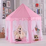 PIGLOO Girl's Princess Castle Play Tent House Indoor Outdoor Toy, 140x140x135cm (Pink)