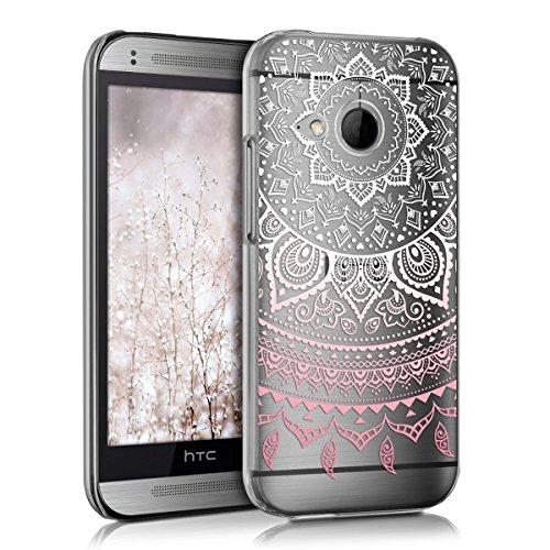 kwmobile Crystal Case Hülle für HTC One Mini 2 mit Indische Sonne Design - transparente Schutzhülle Cover klar in Rosa Weiß Transparent