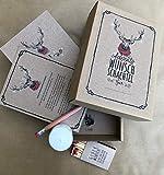 Advents Wunsch Schachtel Rentier - 24 hochwertige Wunschzettel inkl. Teelicht, Bleistift und Streichhölzer in einer liebevoll gestalteten Box