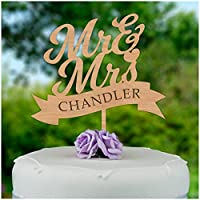 PERSONALISED Wedding Cake Toppers, Custom Cake Decorations for Mr and Mrs, Rustic Wooden Decorations - ANY SURNAME - Mr And Mrs Wedding Cake Decoration - Made from 4mm Cherry or 3mm MDF Wood