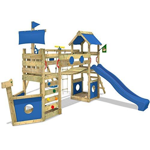 Preisvergleich Produktbild WICKEY Spielturm StormFlyer Kletterturm in Schiffsoptik mit Rutsche Schaukel Sandkasten und Kletterwand, blaue Rutsche + blaue Plane