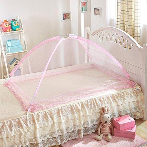 Mosquito Net Baby Travel Bed Crib Pop Up Tienda de campaña, accesorios de cama portátil plegables y portátiles, Travel Kids Carpa, No Bottom Tent, Instalación libre, LARGE, rosa