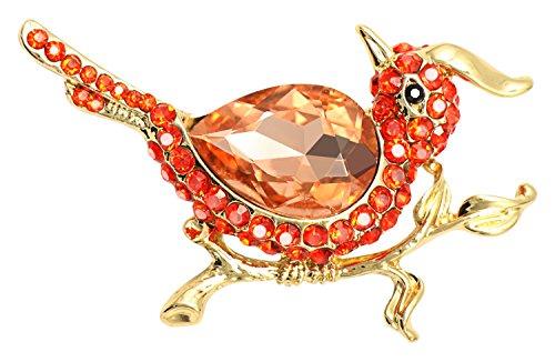 KristLand - Mujer Oro Tono Rojo Cristales Austriacos Bonito Volando Pajaro Broche Pin Para Amores de Animales Lover