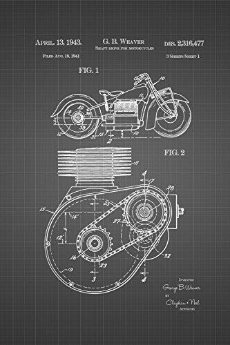 JP London spmurjsglt37Steampunk Zahnrädern Antriebswelle Motorrad Motor Art Ziegelsteinwand abnehmbarer Vintage Schwarz Grid Poster Patent Art at 91,4x 61cm