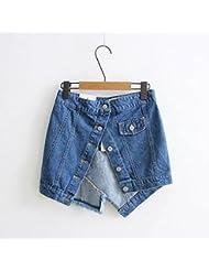 YFF Jeans femmes version coréenne de la moitié en situation irrégulière un mot jupe décorative,L