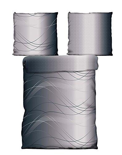 4 Teilig Microfaser Bettwäsche aus 100{0bba5bcc5128180ccfd90fd68dd2e64526364182321940d9f604fab0cfb0beac} Mikrofaser 135x200 + 80x80 Sybille grau