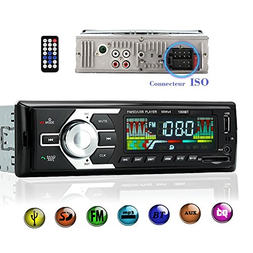 Autoradio Bluetooth sans fil avec Adapteur ISO Voiture Lecteur MP3/WMA/FLAC/WAV support USB/SD...