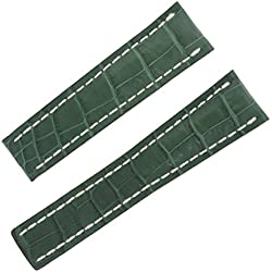 Breitling 753P 24-20mm Alligator Leather Green Men's Watch Band