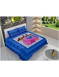 Maruti impresiones Disney Princess Azul sábana de algodón doble con 2fundas de almohada
