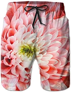 Beautiful Pink Chrysanthemum Blossom Men's/Boys Casual Swim Trunks Short Elastic Waist Beach Pants with Pockets