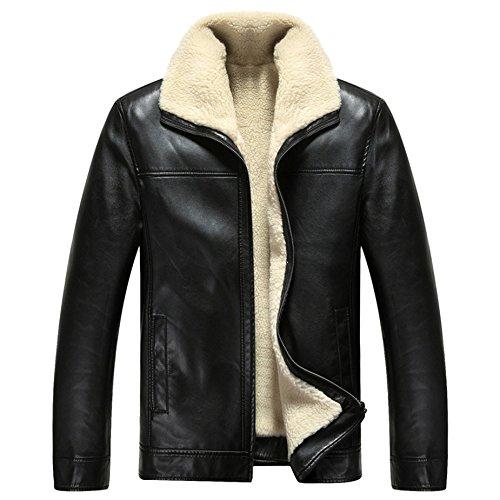 PLAER hommes loisirs Veste de fourrure machine Car veste de cuir De plus épais velours chaleureux hommes peau Noir