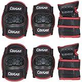 Dcolor Bambini Adolescente sicurezza protezione 6 Pz Pads Set gomitiere ginocchiere polsiere pattino BMX - Blu & Nero