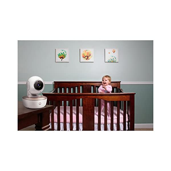Motorola MBP855 Connect 5-Inch Colour Screen Video Baby Monitor Motorola Portable baby monitor with added Wi-Fi connectivity. Up to 1000 feet range Can connect with Hubble App to your smartphone or tablet.  It easily attaches to shelves, brackets, and more. For safety camera should be mounted at least 3 feet outside of crib Large 5 inch colour display with included infrared night vision 2