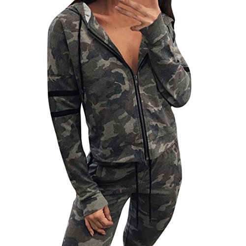 Kleidung FORH Frauen vintage Gestreift Mit Kapuze Jacke Mantel Super cool Hoodie Camouflage Sweatshirt Outwear Straße Mode Streetwear Clubwear Tops (S, Camouflage) (Reißverschluss-job Shirt)