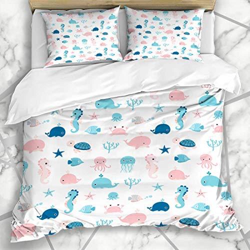 Soefipok Bettbezug-Sets Schlafanzug Rosa Kinder Niedlich Sommer Meerestiere Qualle Muster Blau Baby Seepferdchen Schildkröte Tintenfisch Mikrofaser Bettwäsche mit 2 Kissenbezügen