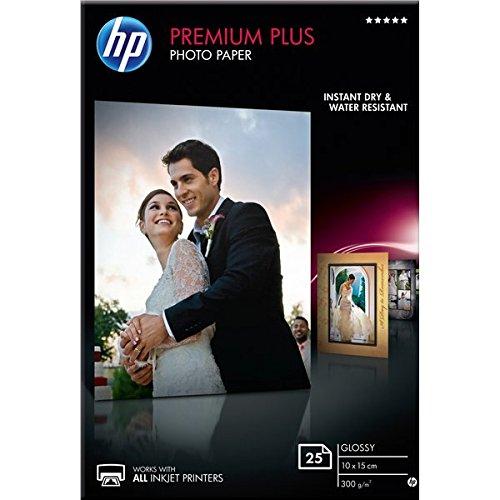 HP CR677A Carta Fotografica Premium, Lucida, 300 G/Mq, Confezione da 25