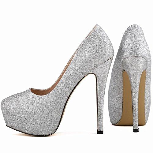 HooH Femmes Stiletto Plateforme Talon haut Robe Escarpins Mariage Chaussures a enfiler Argent