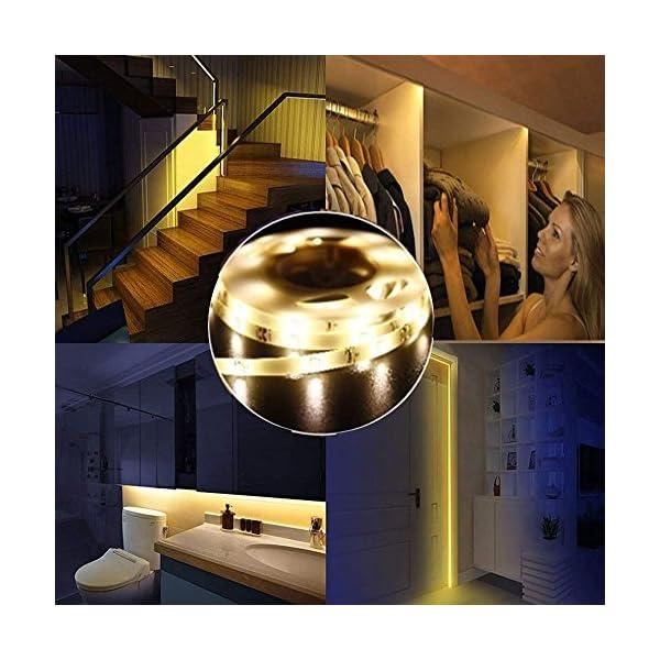 LUXJET® 45LED 150cm tira luz cuerda,Luz Armario Luz LED Nocturna con Sensor de Movimiento para Pasillo Baño Armario…