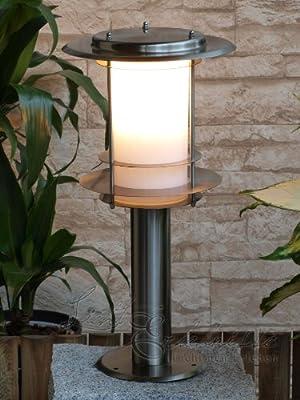 Edelstahl Stand-Außenleuchte Stehlampe IP44 45 cm Außenlampe Hoflampe Gartenlampe Gartenleuchte Stehlampe 1005B H0.45