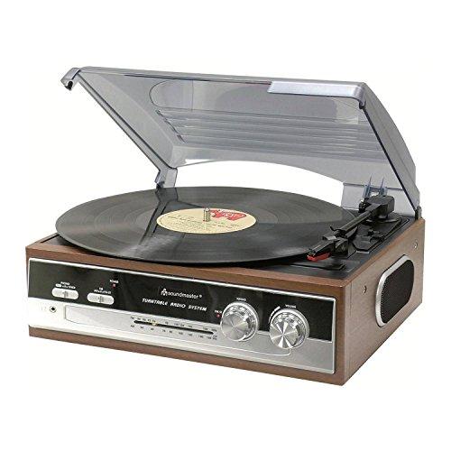 Soundmaster PL-186 - Lettore CD Vinile Vintage Con Radio SFM/FM-ST Stereo, Giradischi in Legno, Portatile, Valigetta Giradischi Per Vinile, 33 45 78 Giri, Lettore Retró