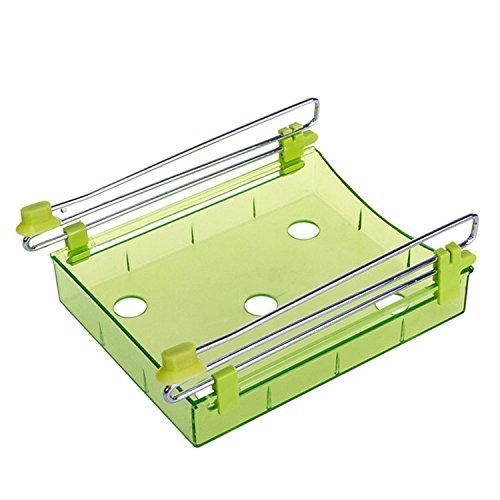 XMDZ Ausziehbar Schublade Aufbewahrung für Kühlschrank Küchenschrank Untertisch Schreibtisch Transparent Unter Regal Organizer 2er Set Grün (Schrank-schiebe-korb)