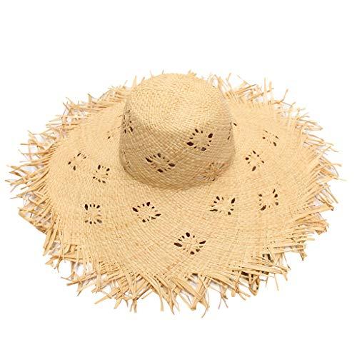 MINXINWY_ Gorras Sombrero Paja de Mujer, Pescador Sombrero de Fiesta Sombreros de Paja de Sol Playa Gorra de Bola ala Ancho Protector Visera de Verano Solar Sombrero de Viaje de Vacaciones