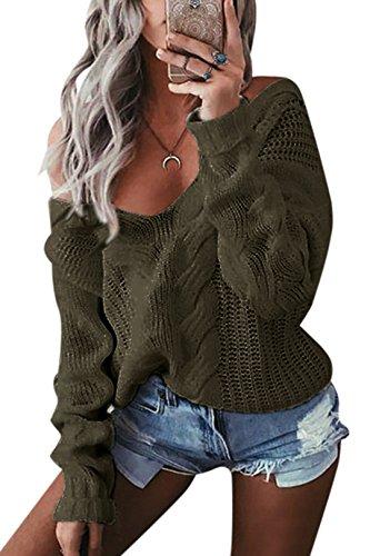YOINS Oversize Pullover Damen Strickpullover Damen Sexy Off Shoulder Langarmshirt Schulterfrei V-Ausschnitt Causal T-Shirt Grün XL/EU46
