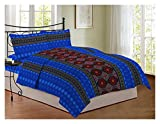 Bombay Dyeing 104 TC Cotton Double Bedsheet with 2 Pillow Covers - Geometric, Blue
